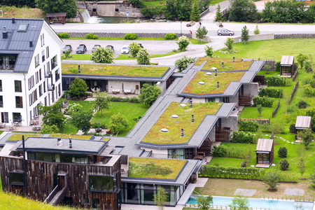Aerial view of extensive green living sod roofs with vegetation Editorial
