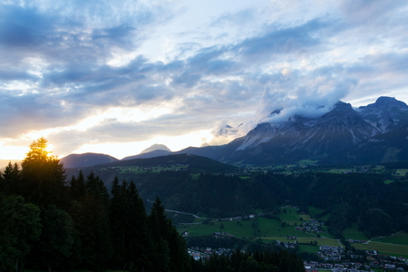 Beautiful sunset with dramatic clouds over Dachstein Mountains, Alps, Schladming