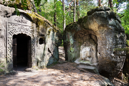Man made sandstone cave Klacelka near Libechov, Czech Republic Stock Photo