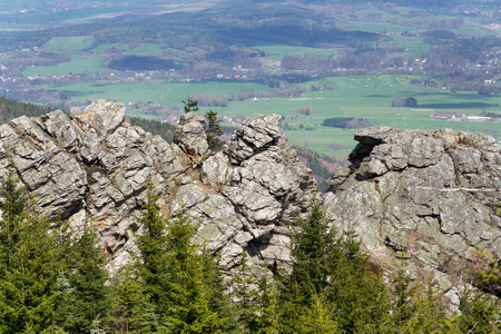 Rock formation on Jested Mountain, Liberec in background, Czech Republic Stock Photo
