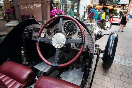 SAALBACH-HINTERGLEMM, AUSTRIA - JUNE 21 2018: Vintage Riley Two Seater Sportscar from 1938 oldsmobile veteran on June 21, 2018 in Saalbach-Hinterglemm, Austria.