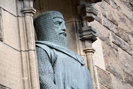 William Wallace bronze statue detail at Gatehouse entrance to Edinbugh Castle, Scotland, United Kingdom