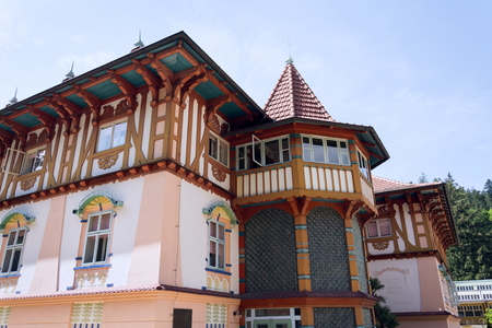 National cultural monument Jurkovicuv house from 1902 in spa town Luhacovice, Czech Republic, sunny summer day Editorial