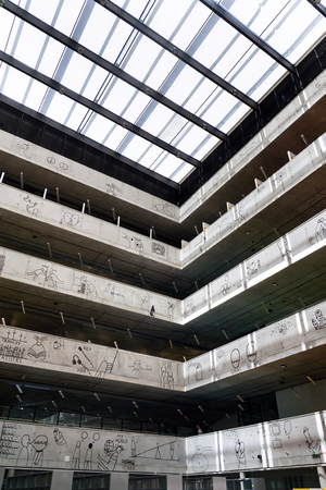 PRAGUE, CZECH REPUBLIC - MAY 20 2018: The Czech National Library of Technology on May 20, 2018 in Prague, Czech republic.