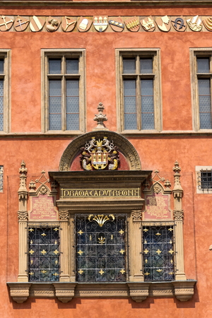 Old Town Hall with capital of the realm inscription, Prague Banco de Imagens