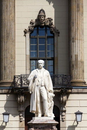 Hermann von Helmholtz statue in front of the Humboldt University, Berlin, Germany, sunny day, sculptor Ernts Herter 1899