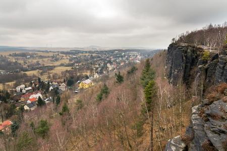 Tisa rocks or Tisa walls in western Bohemian Switzerland, part of the Elbe Sandstone Rocks, Czech Republic