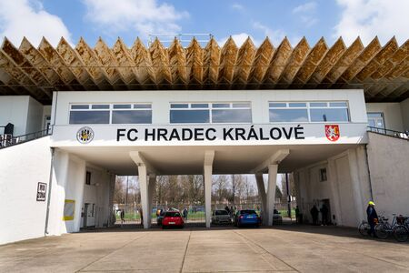 HRADEC KRALOVE, CZECH REPUBLIC - MARCH 25 2018: FC Hradec Kralove football club sport stadium on March 25, 2018 in Hradec Kralove, Czech republic.