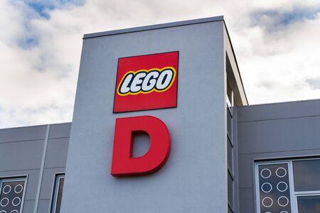 KLADNO, CZECH REPUBLIC - DECEMBER 4 2018: The Lego Group company logo on production factory building on December 4, 2018 in Kladno, Czech Republic.