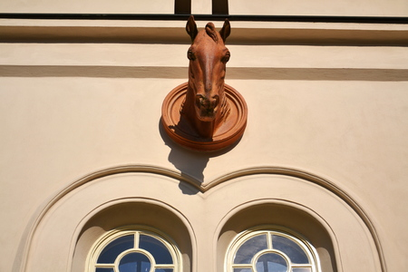 Horse head sculpture on wall of stable, Lany, Czech Republic Stok Fotoğraf