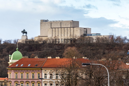 Prague panorama with Jan Zizka equestrian statue in front of National memorial Vitkov, Czech Republic, cloudy day