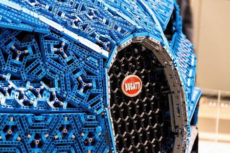 PRAGUE, CZECH REPUBLIC - JANUARY 6 2019: Bugatti Chiron full-size model from Lego bricks stands on January 6, 2019 in Prague, Czech Republic.