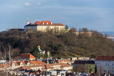 Beautiful Spilberk castle with Saint Wenceslas orthodox cathedral in foreground, Brno, Moravia, Czech Republic, sunny day Editorial