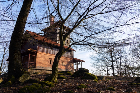 Romantic lookout tower Vlkova in beautiful magic spring forest, Czech Republic, sunny day, clear blue sky background