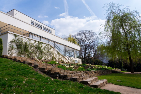 BRNO, CZECH REPUBLIC - APRIL 8 2019: Villa Tugendhat by architect Ludwig Mies van der Rohe built in 1929-1930, modern functionalism architecture monument, UNESCO World Culture Heritage site on April 8, 2019 in Brno, Czech Republic. Editorial