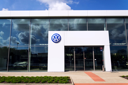 PRAGUE, CZECH REPUBLIC - MAY 6 2019: Volkswagen company logo on dealership building on May 6, 2019 in Prague, Czech Republic.