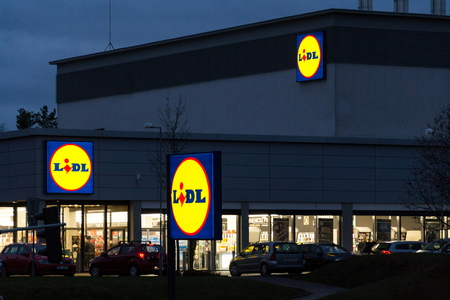 PRAGUE, CZECH REPUBLIC - DECEMBER 7 2018: LIDL company logos oni supermarket from German chain, part of Schwartz Gruppe on December 7, 2018 in Prague, Czech republic. Editorial