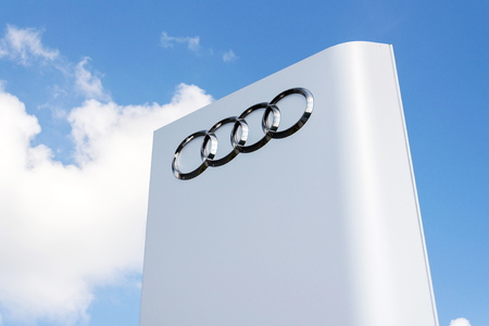 PRAGUE, CZECH REPUBLIC - MAY 6 2019: Audi company logo in front of dealership building on May 6, 2019 in Prague, Czech Republic.