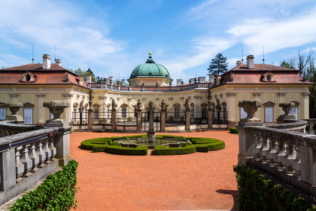 Buchlovice castle architecture detail in Moravia, Czech Republic, sunny summer day