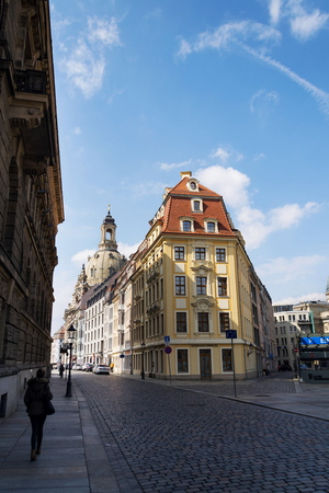 DRESDEN, GERMANY - APRIL 2 2018: Lutheran church Dresden Frauenkirche, Church of Our Lady on sunny day on April 2, 2018 in Dresden, Germany. Editorial