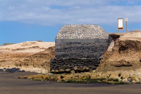 World war II bunker on beach in El Medano, Tenerife, Canary Islands, Spain Imagens