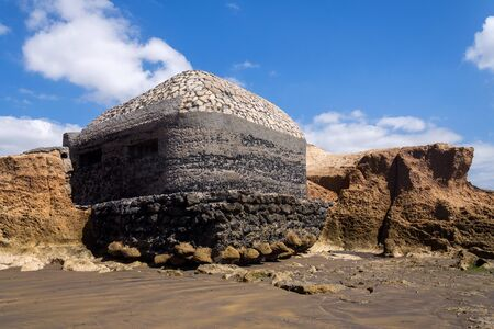 World war II bunker on beach in El Medano, Tenerife, Canary Islands, Spain 写真素材