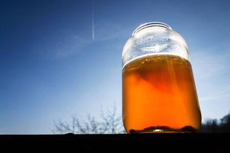 Kombucha natural fermented tea in glass jar, healthy drink of asian original