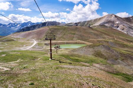 Mountains of Livigno Alps on the border between Italy and Switzerland, view from Lac Salin cable car station, sunny summer day, Italy