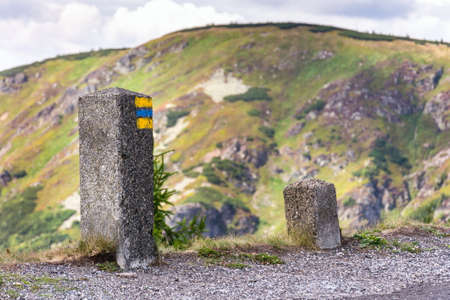Blue and yellow square hiking markers, trail blazing symbol, Krkonose mountains, Czech Republic