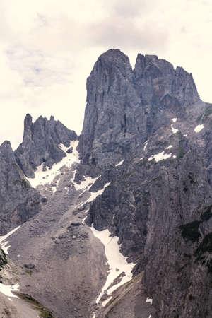Grosse Bischofsmutze mountain in Alps, Gosau, Gmunden district, Upper Austria federal state, sunny summer day, exploration wanderlust concept