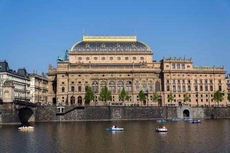 Prague panorama with National Theatre on the bank of Vltava River, Prague, Czech Republic, sunny summer day 版權商用圖片