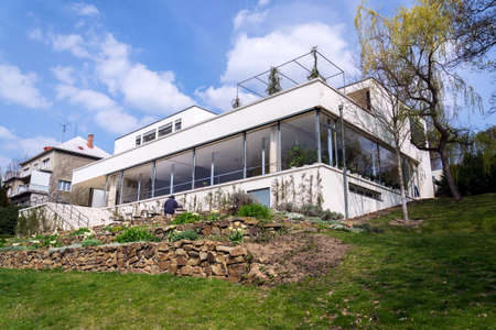 Exterior of the Villa Tugendhat by architect Ludwig Mies van der Rohe built in 1929-1930, modern functionalism architecture monument, Brno, Moravia, Czech Republic, UNESCO World Culture Heritage site