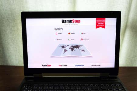 PRAGUE, CZECH REPUBLIC - FEBRUARY 1 2021: GameStop video game corporation and gaming merchandize retailer logo on computer screen on February 1, 2021 in Prague, Czech Republic.