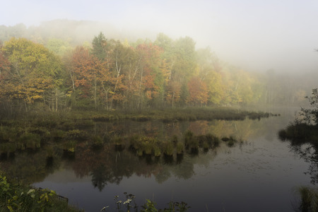 Morning mist with fall colours over a lake photo