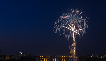 Fireworks Competition over a city Stock Photo
