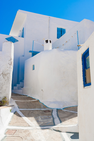 cyclades: Typical Cycladic Architecture, Plaka village, Milos island, Cyclades, Greece Stock Photo