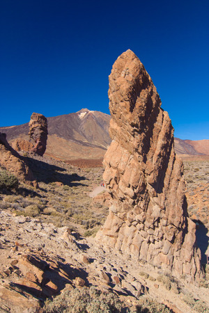 garcia: Roque de Garcia with Pico del Teide in the background, Tenerife, Spain Stock Photo