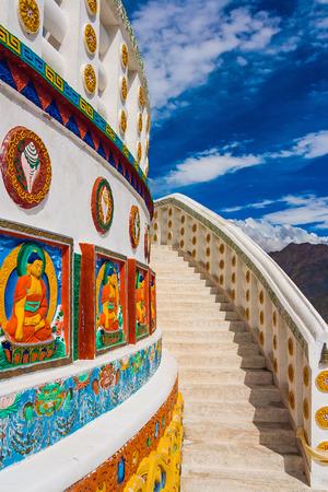 shanti: Shanti Stupa in Leh, Buddhist monument, Stairway to Heaven, Ladakh, India Stock Photo