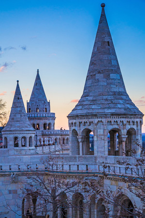 mediaval: Mediaval towers of Fisherman Bastion during sunset, Budapest, Hungary