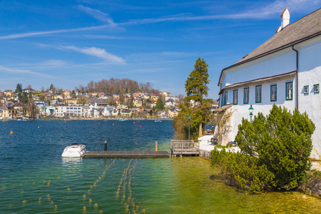Gmunden town with castle Ort and Traunsee, Austria, Europe