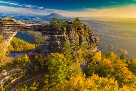 Pravcicka Gate in autumn colors, Bohemian Saxon Switzerland, Czech Republic Stock Photo