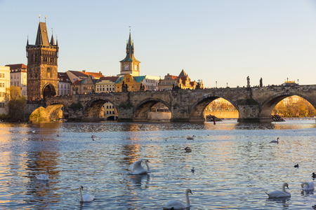 Charles Bridge with late afternoon sun, Prague, Czech Republic Stock Photo