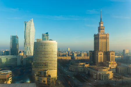 Warsaw city center skyline with skyscrapers, nice morning view ,Warsaw, capital of Poland Editorial