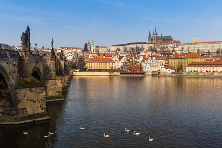 Prague castle and Charles bridge with Vltava river during early spring morning, Prague, Czech Republic