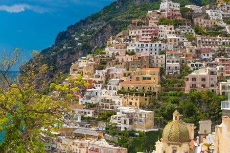 Beautiful town of Positano with pictoresque houses, Amalfi coast, Campania region, Italy Stock Photo