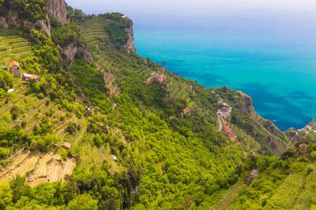 Beautiful views from path of the gods with lemon tree fields, Amalfi coast, Campagnia region, Italy