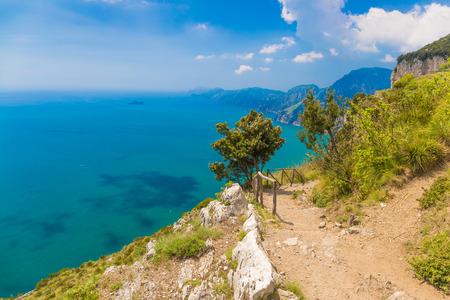 Beautiful sea and coast views from path of the gods, Amalfi coast, Campagnia region, Italy