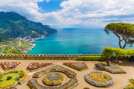 Fantastic view from medieval Villa Rufolo, Ravello town, Amalfi coast, Campania region, South of Italy Stock Photo