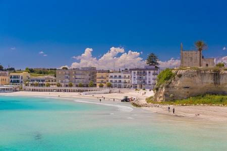 Beautiful town of Otranto and its beach, amazing sea view, Salento peninsula, Puglia region, Italy