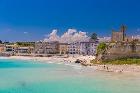 Beautiful town of Otranto and its beach, amazing sea view, Salento peninsula, Puglia region, Italy